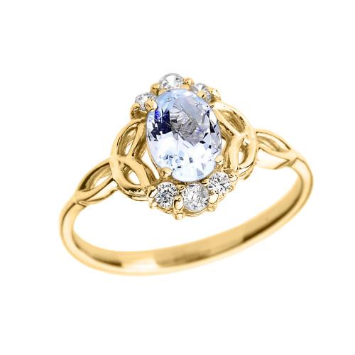 Yellow Gold Aquamarine And Diamond Proposal Ring: Yellow Gold Aquamarine And Diamond Trinity Knot Proposal Ring