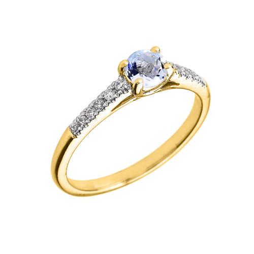 Yellow Gold Aquamarine And Diamond Proposal Ring: Yellow Gold Diamond And Aquamarine Engagement Proposal Ring