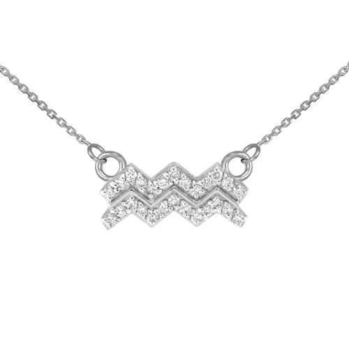 White Gold Aquarius Zodiac Sign Diamond Necklace