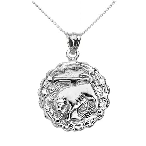 Sterling Silver Taurus May Zodiac Sign Round Pendant Necklace