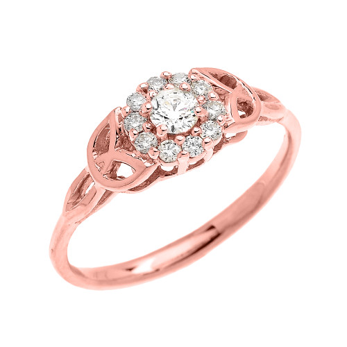 Engagement Rings Knot: Trinity Knot Halo Diamond Solitaire Rose Gold Engagement