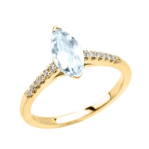 Yellow Gold Aquamarine And Diamond Proposal Ring: Yellow Gold Dainty Marquise Aquamarine And Diamond