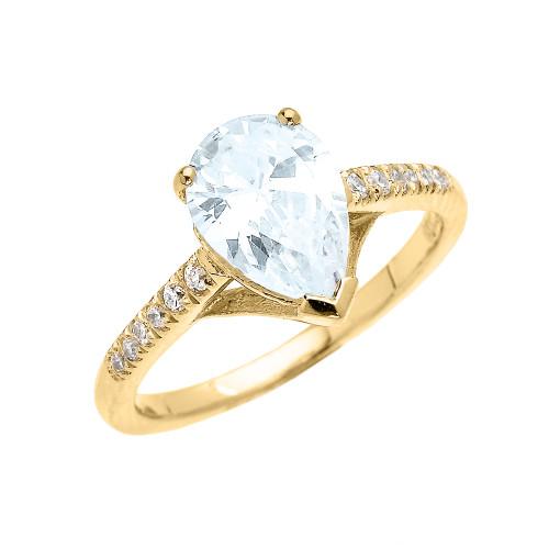 Yellow Gold Aquamarine And Diamond Proposal Ring: Yellow Gold Dainty Pear Shape Aquamarine And Diamond