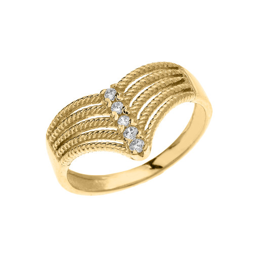 Rope Design Bands: Yellow Gold Modern Chevron 5 Stone Diamond Rope Design Ring