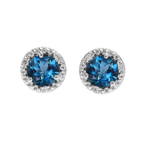 Halo Stud Earrings In White Gold With Solitaire London