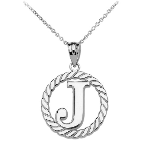 Sterling Silver Quot J Quot Initial In Rope Circle Pendant Necklace