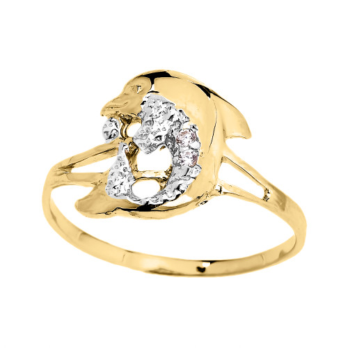 dainty yellow gold cz dolphin ring. Black Bedroom Furniture Sets. Home Design Ideas