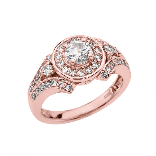 Diamond Proposal Engagement Ring In White Gold: Rose Gold Diamond Engagement/Proposal Ring With White