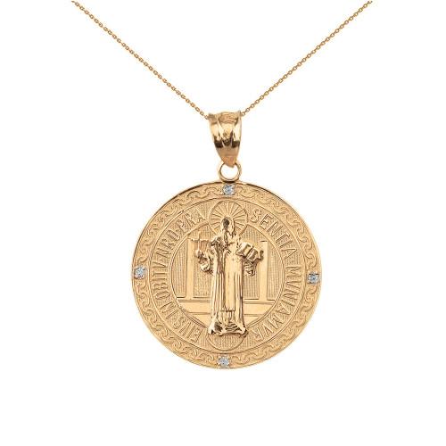 4a8d12e602cf Solid Yellow Gold Saint Benito Engravable Diamond Medallion Pendant Necklace  1.03