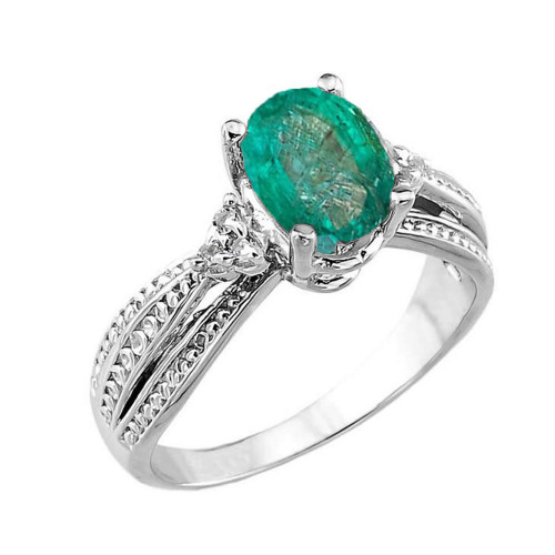 Diamond Proposal Engagement Ring In White Gold: White Gold Genuine Emerald And Diamond Engagement Proposal
