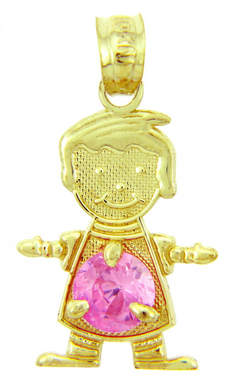 Gold Baby Charms And Pendants Cz Pink Round Baby