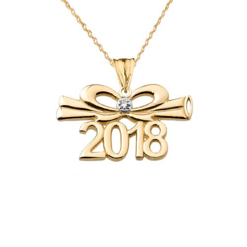 dainty diamond 2018 bow and diploma graduation pendant. Black Bedroom Furniture Sets. Home Design Ideas