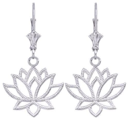 14k Lotus Flower Earrings In White Gold