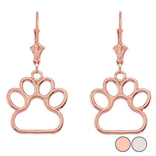 Dainty Dog Paw Print Leverback Earring In 14k Gold Rose White Medium