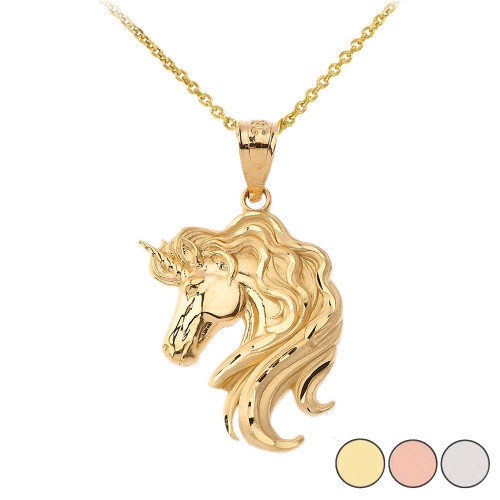 Mythical Unicorn Pendant Necklace In Gold Yellow Rose White