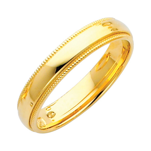 Td123864w 14k White Gold Double Milgrain 4mm Comfort Fit: 14K Gold Milgrain Comfort Fit Wedding Band 4MM
