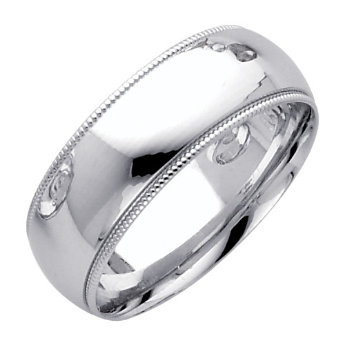 Td123864w 14k White Gold Double Milgrain 4mm Comfort Fit: 14K White Gold Milgrain Comfort Fit Wedding Band 7MM