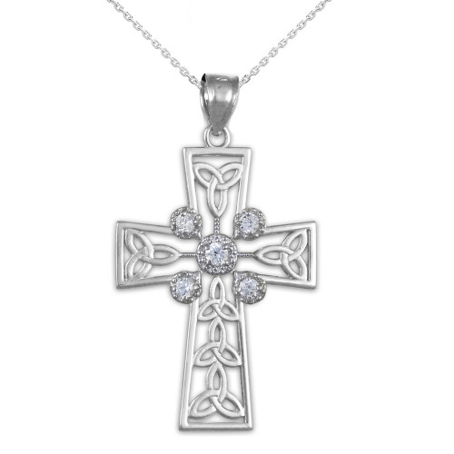White Gold Celtic Cross Trinity Knot Diamond Pendant