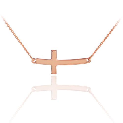 Sideways Curved Cross Necklace: 14K Solid Rose Gold Sideways Curved Cute Cross Necklace