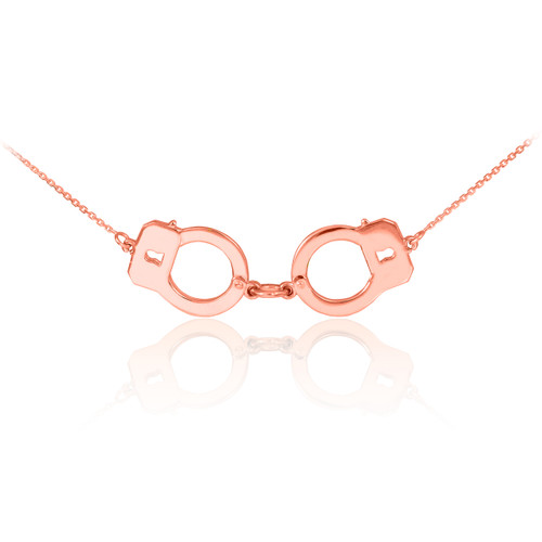Handcuffs Necklace Rose Gold Handcuffs Necklace 14k