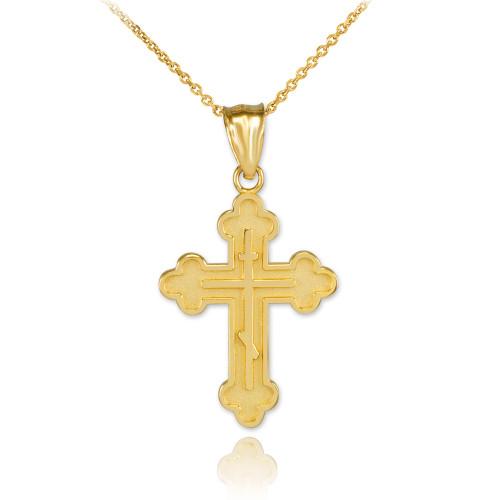 Gold Russian Orthodox Cross Pendant