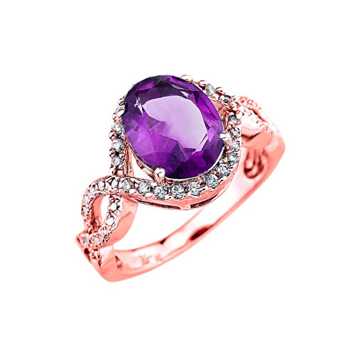 rose gold amethyst and diamond infinity engagement ring. Black Bedroom Furniture Sets. Home Design Ideas
