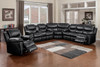 Black Faux Leather Reclining 3 Piece Sectional