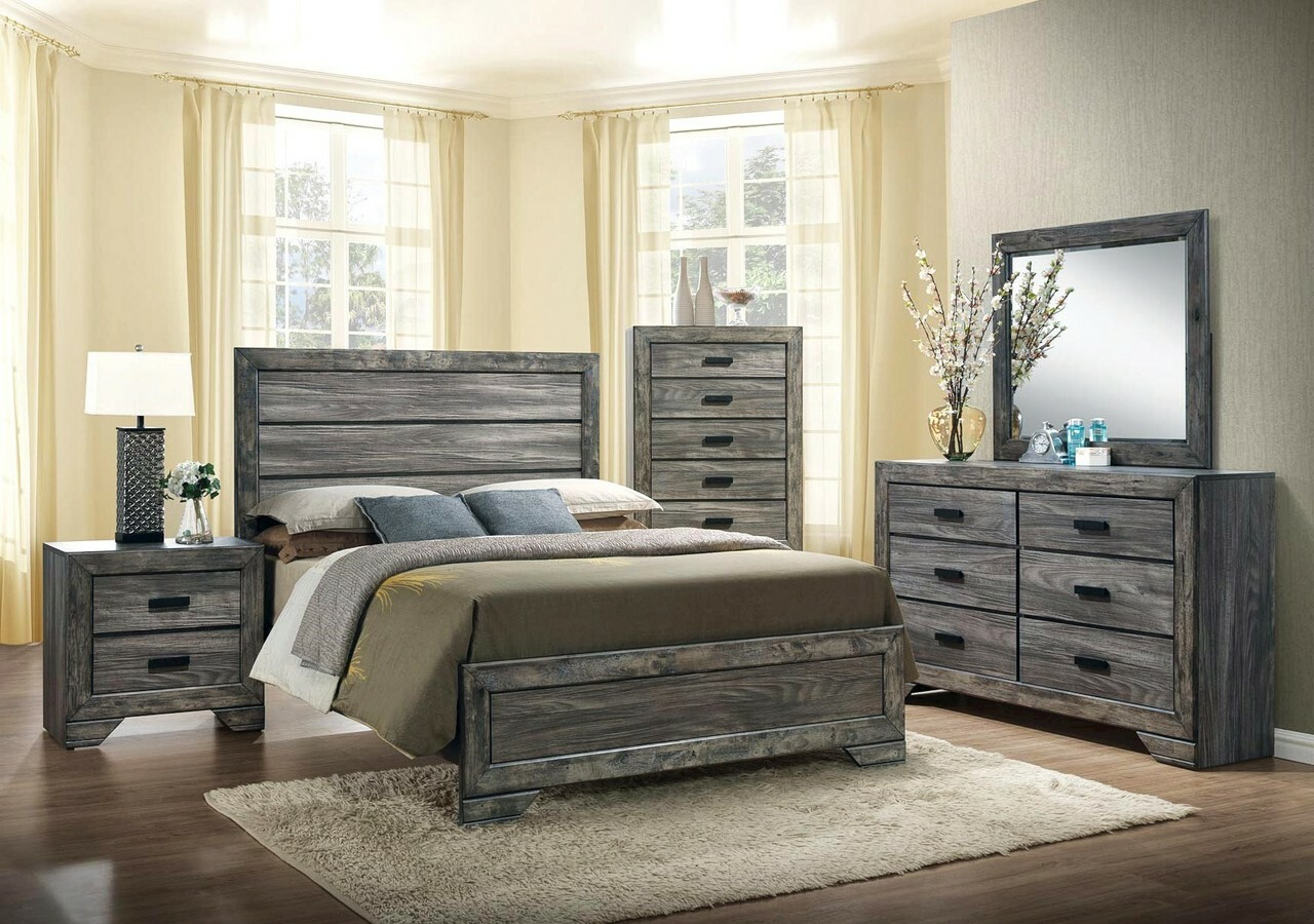 rustic oak gray bedroom