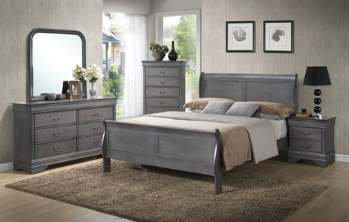Gray Louis Sleigh Bedroom