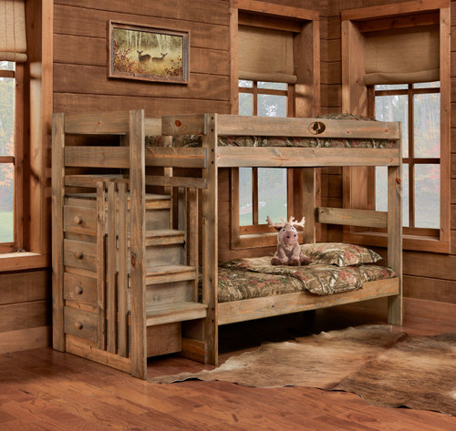 Mossy Oak Twin/Twin Bunkbed with Stairstep & Storage
