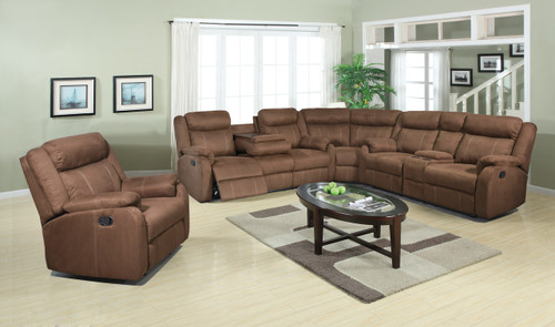 Chocolate Plush Reclining 3 Piece Sectional