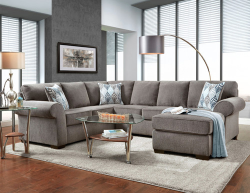The super comfortable Charisma Smoke Sectional will add luxury & style to any living room! Available in Smoke Gray or Vibrant Cocoa Fabric Colors!