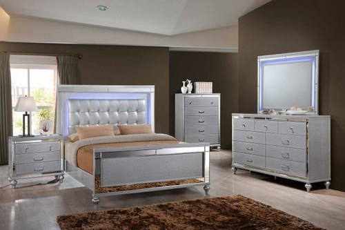 Valentine Silver Lighted Bedroom