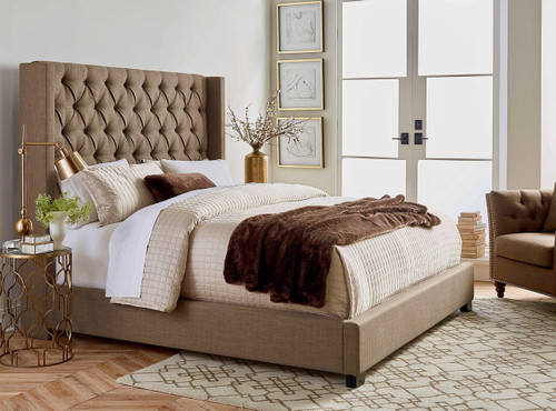 Luxury Linen Upholstered Platform Bed