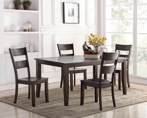 Wirebrush Dark Oak 5 Piece Dining Set