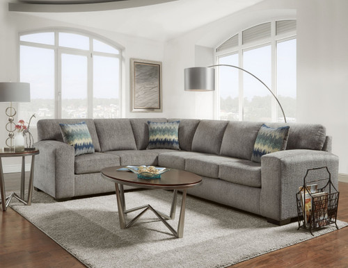 Silver Pewter Luxury 2 Piece Sectional Set