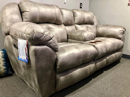 Ferrington Loveseat with Power Recline/Close & Power Headrests! Steel Color!