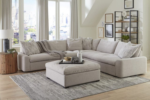 Valley Cream Luxury 3 Piece Sectional with Ottoman
