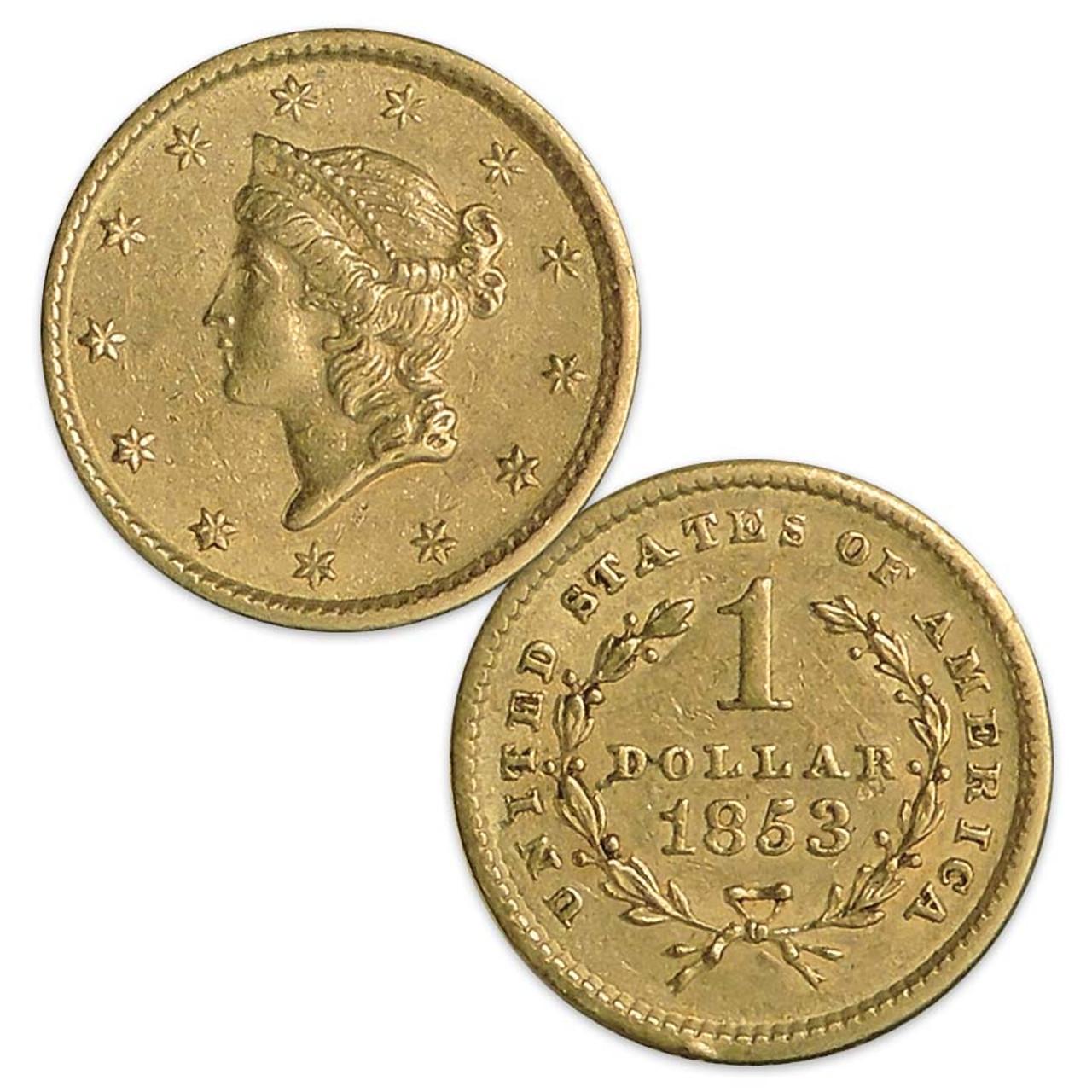 U.S. 1849-1854 Coronet Liberty Gold Dollar Type I Extra Fine