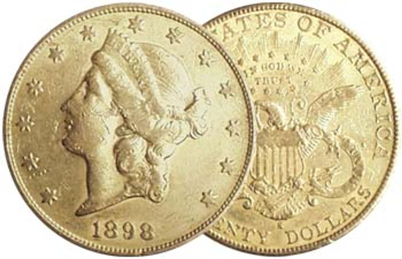 1849-1899 Coronet Liberty $20 Gold Extra Fine