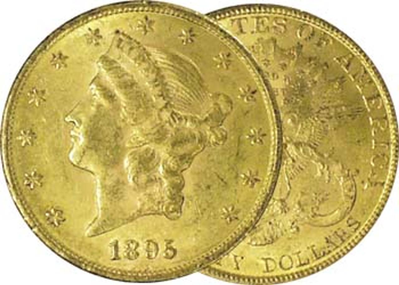 1849-1907 Coronet Liberty $20 Gold Extra Fine