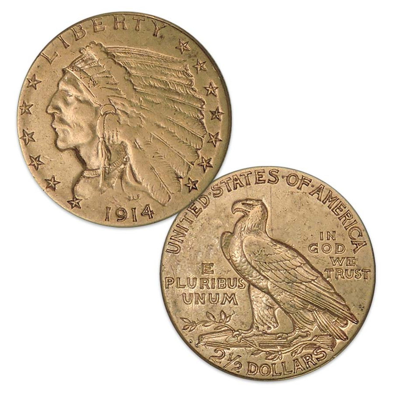 U.S. 1908-1929 Indian Head $2 1/2 Gold Extra Fine