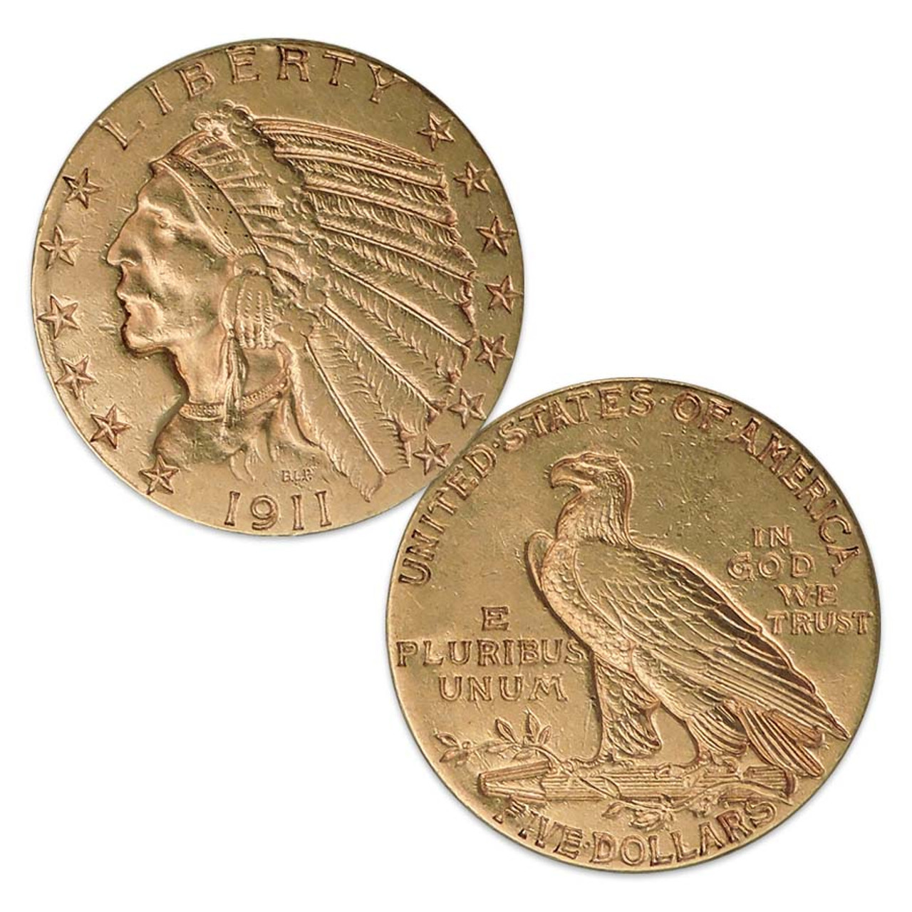 U.S. 1908-1929 Indian Head $5 Gold Extra Fine