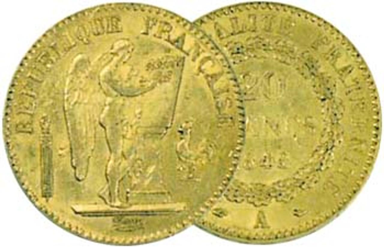 France 1871-1906 Angel Gold 20 Franc Extra Fine