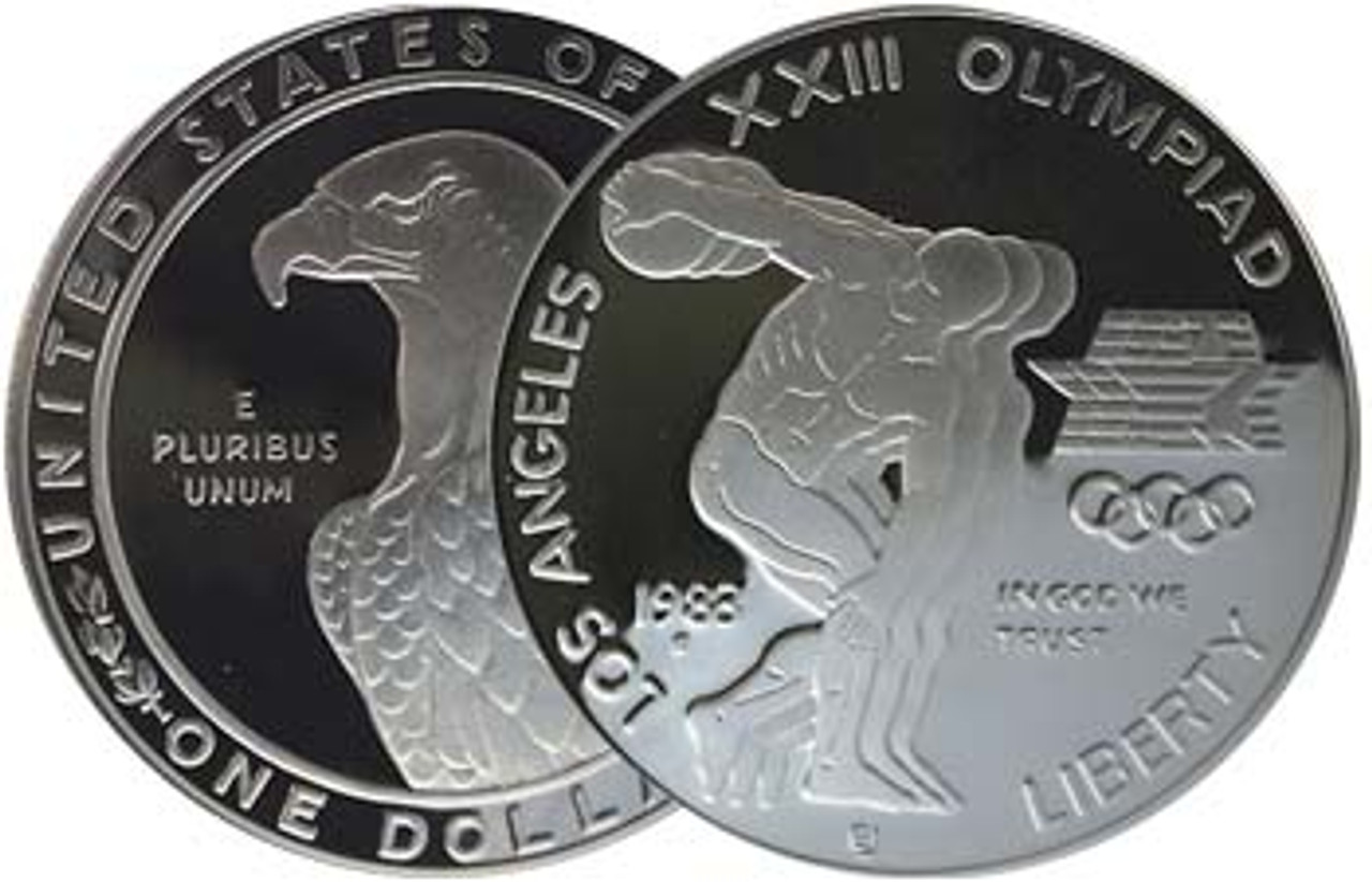 1983-S Olympic Discus Thrower Silver Dollar Proof Image 1