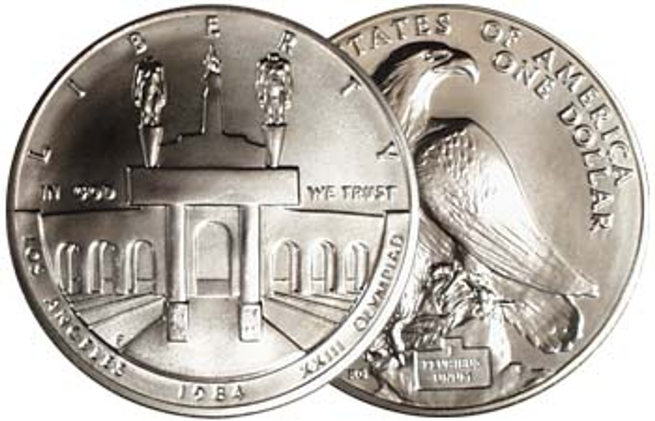 1984 Olympic Coliseum Silver Dollar Brilliant Uncirculated Image 1