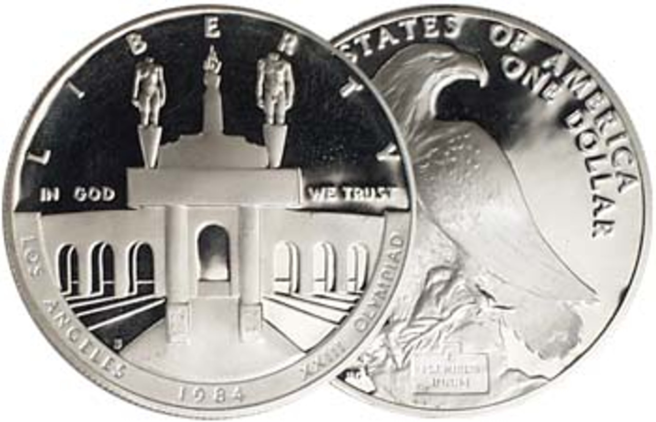 1984-S Olympic Coliseum Silver Dollar Proof Image 1