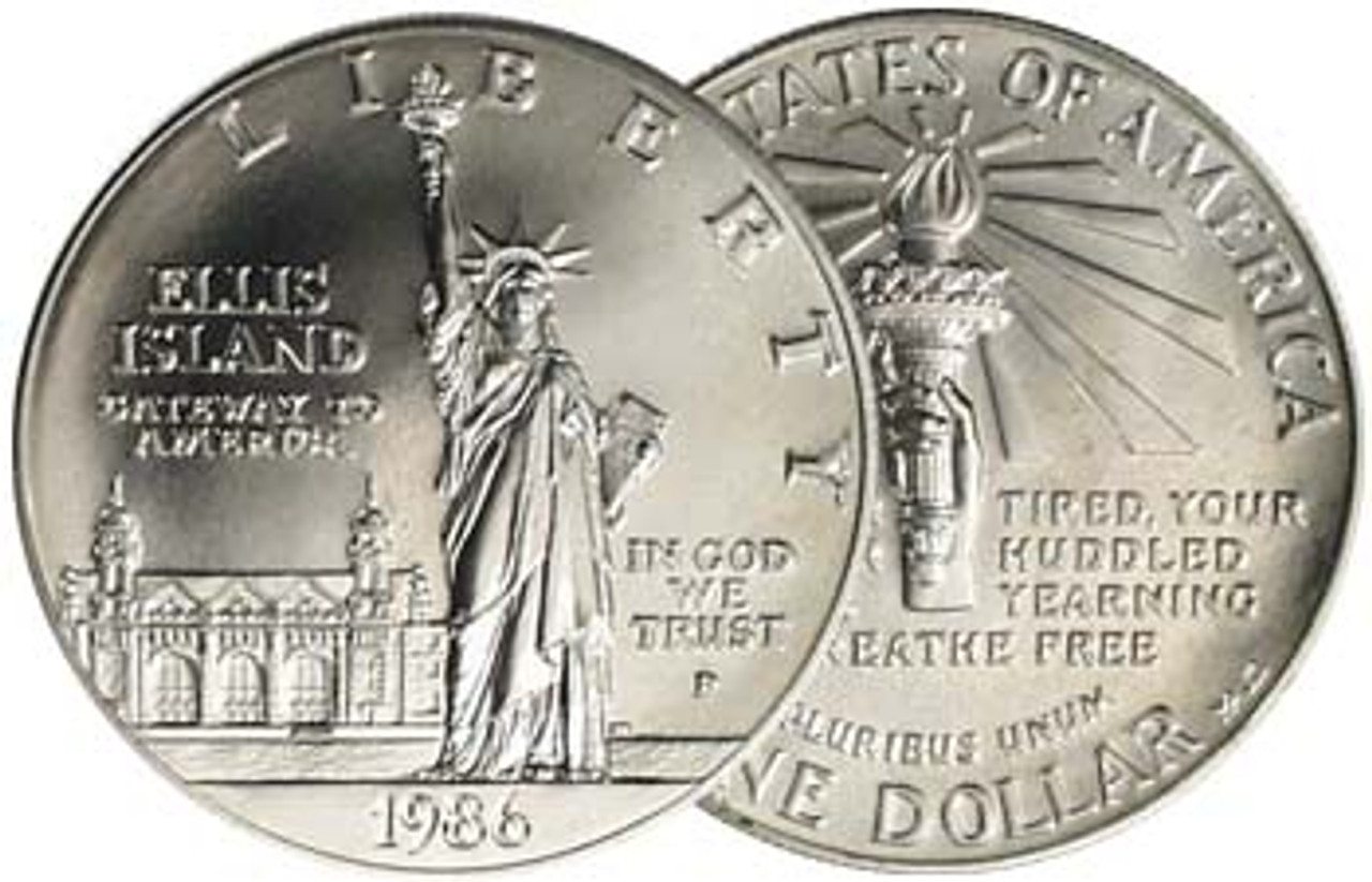 1986 Statue of Liberty Silver Dollar Brilliant Uncirculated Image 1