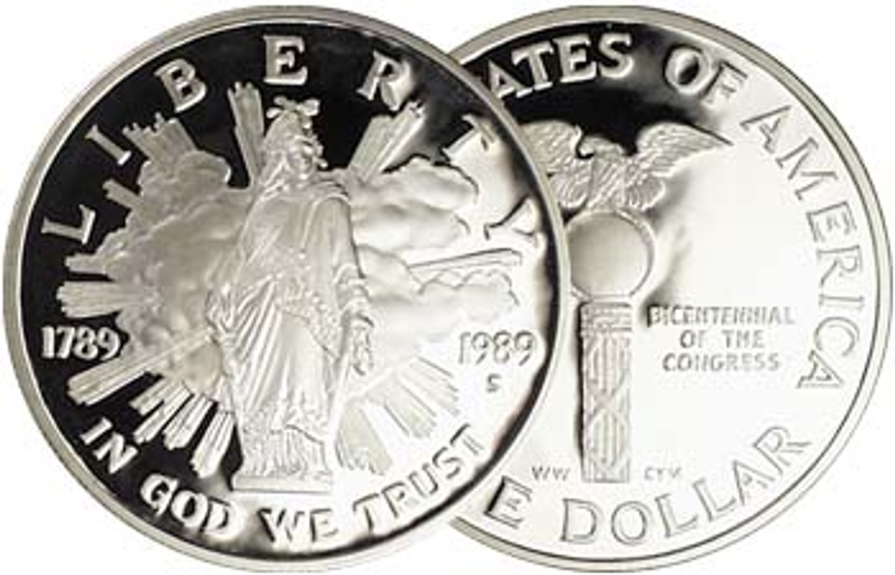1989-S Congress Silver Dollar Proof Image 1