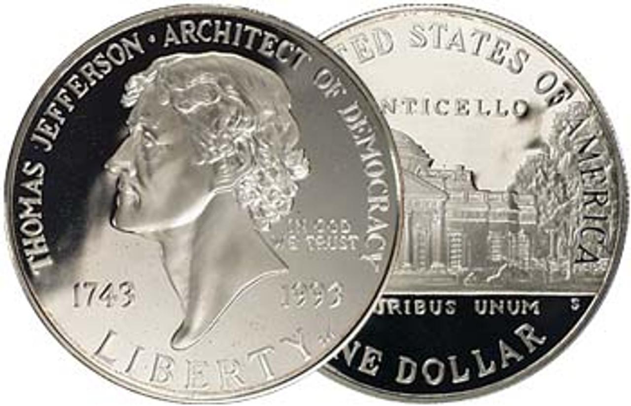 1993-S Jefferson Silver Dollar Proof Image 1